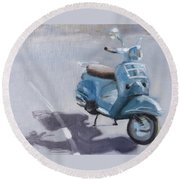 Vespa Shadows Round Beach Towel