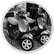 Vespa Twins Black And White Round Beach Towel