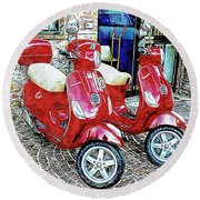 Vespa Twins Red Round Beach Towel