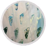 Round Beach Towel featuring the painting Vestige by Robin Maria Pedrero