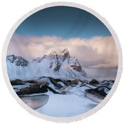 Vestrahorn And Ice Puddles Round Beach Towel