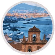 Vesuvio, Panorama From Naples Round Beach Towel