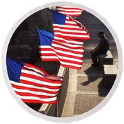 Veteran With Our Nations Flags Round Beach Towel