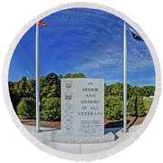 Veterans Freedom Park, Cary Nc. Round Beach Towel