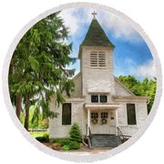 Round Beach Towel featuring the photograph Veterans Home Chapel by Trey Foerster