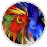 Vibrant Abstract Color Strokes Round Beach Towel