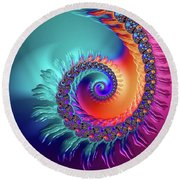 Vibrant And Colorful Fractal Spiral  Round Beach Towel