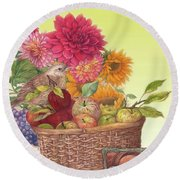 Vibrant Fall Florals And Harvest Round Beach Towel