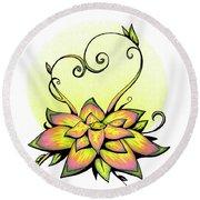 Vibrant Flower 8 Round Beach Towel