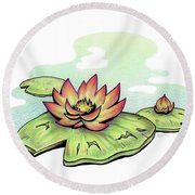 Vibrant Flower 2 Water Lily Round Beach Towel