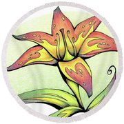 Vibrant Flower 4 Tiger Lily Round Beach Towel