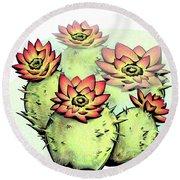 Vibrant Flower 6 Cactus Round Beach Towel