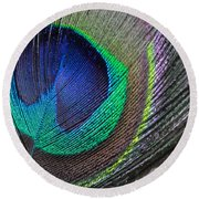 Vibrant Green Feather Round Beach Towel