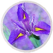 Round Beach Towel featuring the photograph Vibrant Iris On Purple Bokeh By Kaye Menner by Kaye Menner