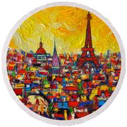 Vibrant Paris Abstract Cityscape Impasto Modern Impressionist Palette Knife Oil Ana Maria Edulescu Round Beach Towel