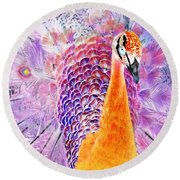 Vibrant Peacock Round Beach Towel