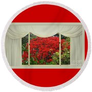 Round Beach Towel featuring the photograph Vibrant Red Blossoms Window View By Kaye Menner by Kaye Menner