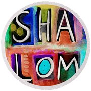 Vibrant Shalom- Art By Linda Woods Round Beach Towel