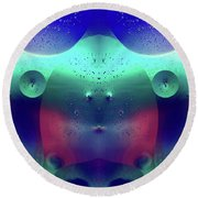 Round Beach Towel featuring the photograph Vibrant Symmetry Oil Droplets by John Williams