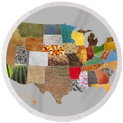 Vibrant Textures Of The United States Round Beach Towel