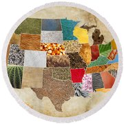 Vibrant Textures Of The United States On Worn Parchment Round Beach Towel