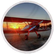 Vicky Benzings 1942 Boring Stearman At Livermore Round Beach Towel