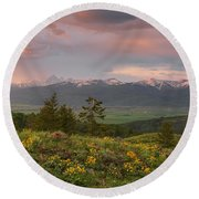 Victor Idaho Sunset Round Beach Towel