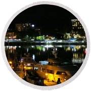 Victoria Inner Harbor At Night Round Beach Towel by Betty Buller Whitehead