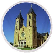 Round Beach Towel featuring the photograph Victoria, Kansas - Cathedral Of The Plains 6 by Frank Romeo