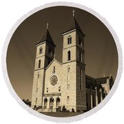 Round Beach Towel featuring the photograph Victoria, Kansas - Cathedral Of The Plains Sepia 6 by Frank Romeo