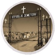 Round Beach Towel featuring the photograph Victoria, Kansas - St. Fidelis Cemetery Sepia by Frank Romeo