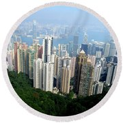 Round Beach Towel featuring the photograph Victoria Peak 1 by Randall Weidner
