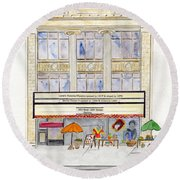 Victoria Theatre In Harlem Round Beach Towel by AFineLyne