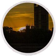 Victoria Tower In London Golden Hour Round Beach Towel