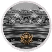 Victoria Tower Low Angle London Round Beach Towel