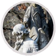 Victorian Angel Contemplating Round Beach Towel