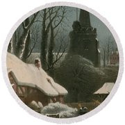 Victorian Christmas Scene With Band Playing In The Snow Round Beach Towel