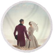Victorian Couple Standing In A Meadow Round Beach Towel