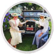 Victorian Girls Round Beach Towel by Linda Weinstock