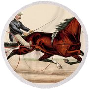 Victorian Horse Carriage Race Round Beach Towel