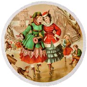 Victorian Ice Skaters Round Beach Towel
