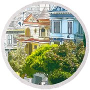Victorian Painted Ladies Houses In San Francisco California Round Beach Towel