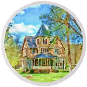 Victorian Painting Round Beach Towel