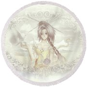 Round Beach Towel featuring the mixed media Victorian Princess Altiana by Shawn Dall