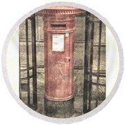 Victorian Red Post Box Round Beach Towel