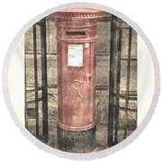 Victorian Red Post Box Round Beach Towel