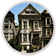 Victorian San Francisco Round Beach Towel