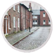 Victorian Terraced Street Of Working Class Red Brick Houses Round Beach Towel by Lee Avison