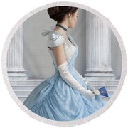 Victorian Woman In An 1860's Powder Blue Evening Dress Round Beach Towel