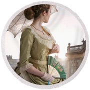 Victorian Woman Looking Back To A Country Estate Round Beach Towel